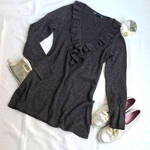 Zara Ruffle V Neck Sweater (M)